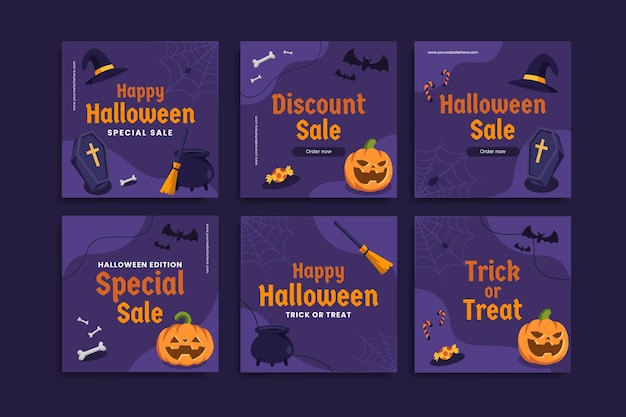 Halloween-verkaufspostvorlage satz von bearbeitbaren social media-kreativvorlagen instagram sale