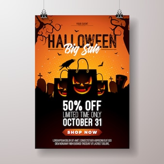 Halloween-verkaufsvektor-fliegerillustration