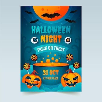 Halloween vertikale party flyer vorlage mit farbverlauf