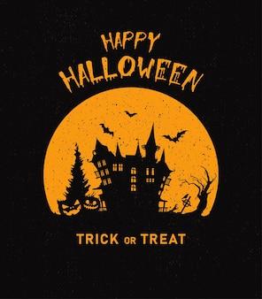 Halloween vertikaler hintergrund mit kürbis-spukhaus