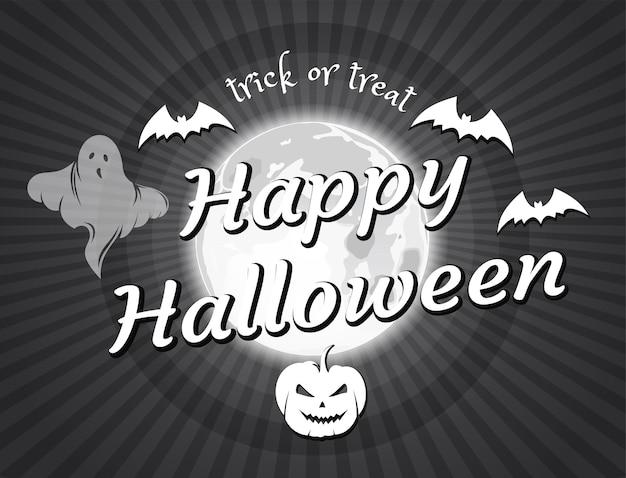Halloween-vintage-film. fröhliches halloween. alter film-endbildschirm. halloween-design im stil des schwarz-weiß-retro-films. vektor-illustration