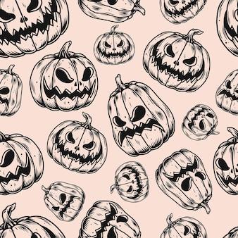 Halloween vintage nahtlose muster mit kürbissen mit geschnitzten gruseligen gesichtern im monochromen stil vektor-illustration