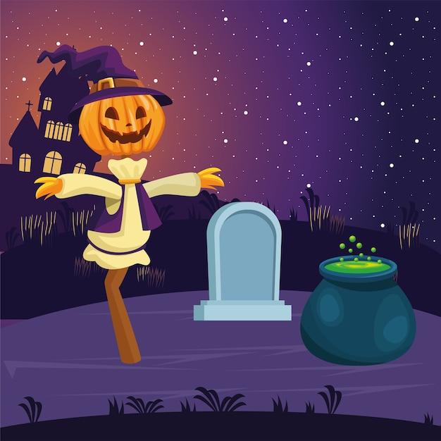Halloween vogelscheuche karikatur mit grab und hexenschale design, urlaub und gruseliges thema