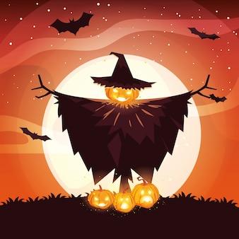 Halloween-vogelscheuche unter vollmond