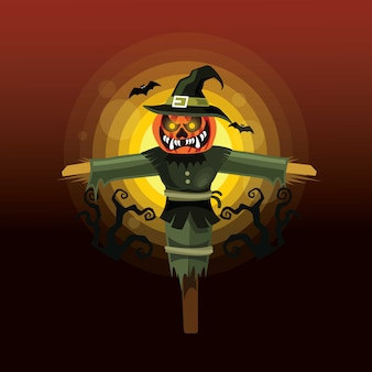 Halloween-vogelscheuchen-charakter