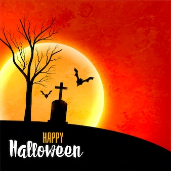 Halloween-vollmond auf furchtsamem hintergrund des roten himmels