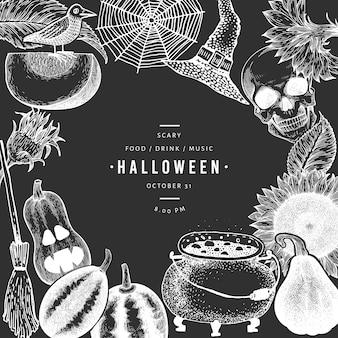 Halloween-vorlage. hand gezeichnete illustrationen auf kreidetafel.