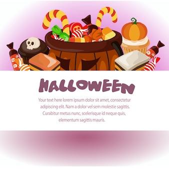 Halloween-vorlage süßigkeiten behandelt