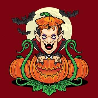 Halloween vsmpie, das vom kürbishintergrund herauskommt