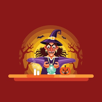 Halloween-wahrsagerin mit kristallkugel