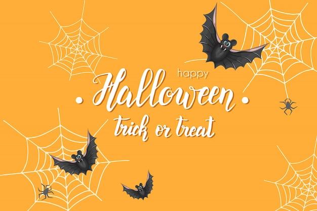 Halloween-weinlesefahne mit handgemachter beschriftung und schläger.