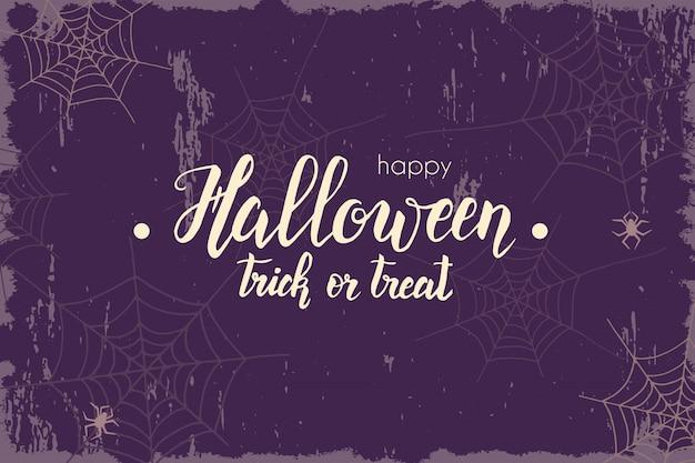 Halloween-weinlesefahne mit handgemachter beschriftung
