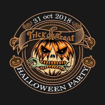 Halloween-weinleselogo auf schwarzem backgound