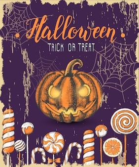 Halloween-weinleseplakat mit hand gezeichneten farbigen süßigkeiten und halloween-kürbis