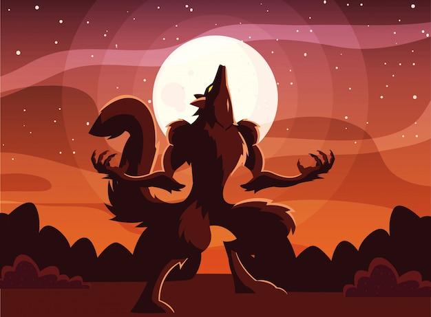 Halloween werwolf cartoon