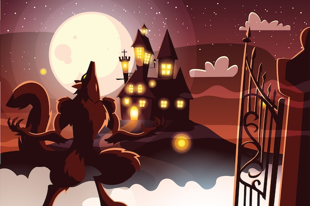 Halloween werwolf cartoon