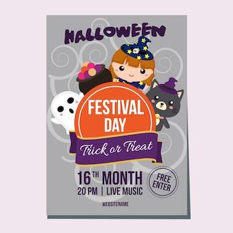 Halloween-woche-poster mit liebenswerten hexe
