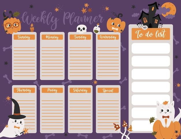 Halloween-wochenplaner-seitenvorlage. to-do-liste mit süßen kürbissen, geistern im cartoon-stil