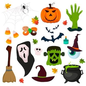 Halloween zaubertrick oder leckerbissen symbole kürbis geist urlaub sammlung. cartoon gruselige halloween-ikonen feier nacht gruselige angst hexe oktober.