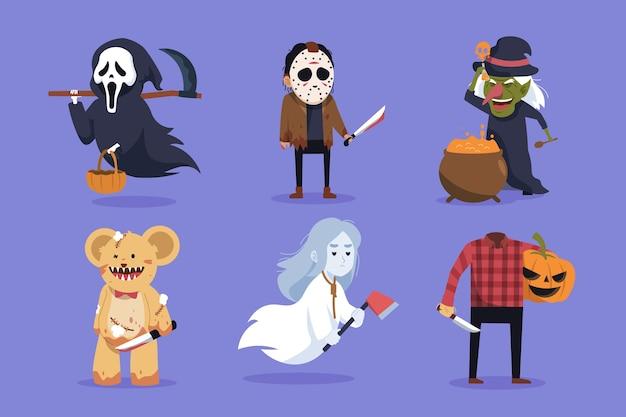 Halloween-zeichensammlung im flachen design