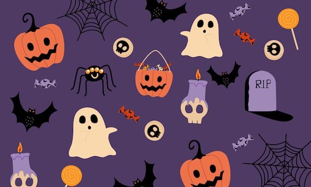 Halloween zeug muster. auf lila hintergrund