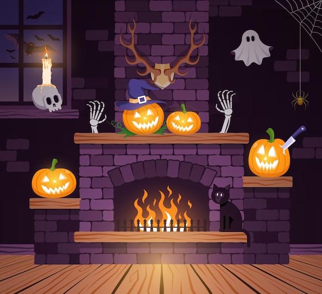 Halloween-zimmer im alten schloss. festlicher halloween-kamin mit kürbissen. vektor-illustration.