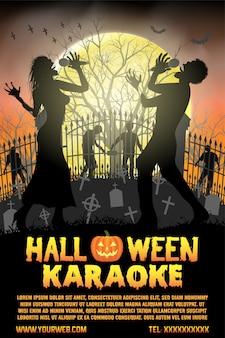 Halloween-zombie, der karaokemusik am kirchhofflieger und -plakat singt