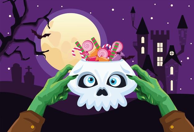 Halloween zombie hände halten schädel mit süßigkeiten design, urlaub und gruseliges thema