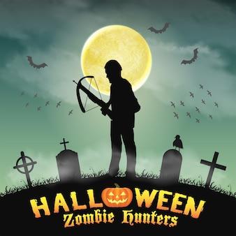 Halloween-zombie-jäger mit armbrust im friedhof