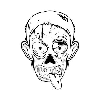 Halloween-zombie-kopf-schwarz-weiß-illustration für thsirt