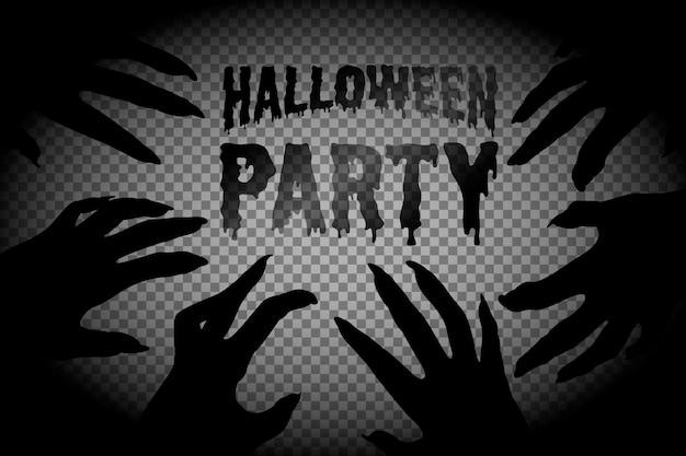 Halloween, zombiehände. rechteckiger rahmen mit einer silhouette der hände eines zombies und der toten. aus papier geschnitzt. auf einem transparenten hintergrund, isoliert, mit platz für text. vektor.
