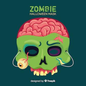 Halloween-zombiemaske im flachen design
