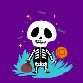 Halloweenbaby-skelett mit süßigkeiten.