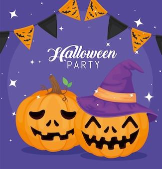 Halloweenparty mit kürbissen