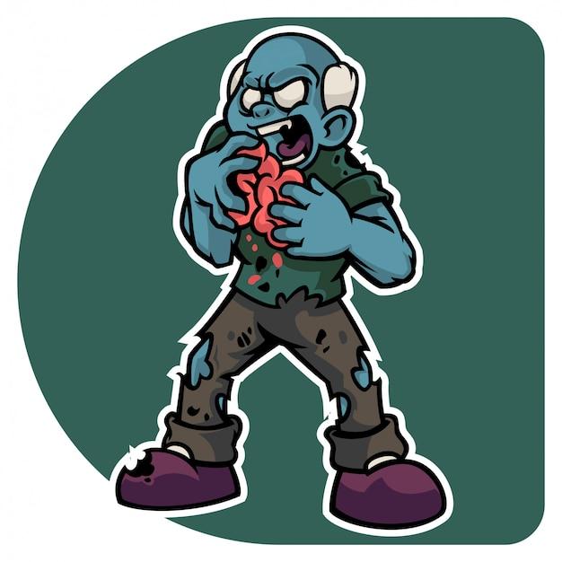 Halloweens zombiemanncharakter, der frisches menschliches gehirn isst