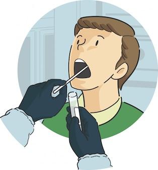 Halsabstrich-test an einem männlichen patienten im front-view-protokoll für den ausbruch einer epidemischen pandemie-virus-bakterien-krankheit