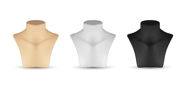 Halskette mannequin stand für schmuck gesetzt. leer. realistische illustration lokalisiert auf weißem hintergrund