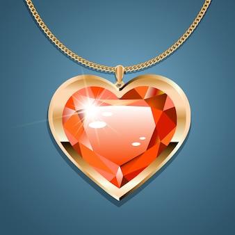 Halskette mit einem roten stein an einer goldenen kette.