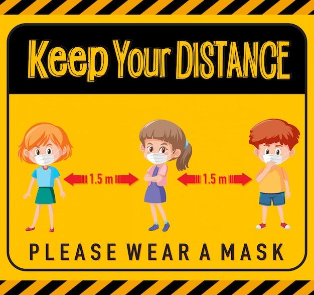 Halten sie abstand oder zeichen der sozialen distanzierung mit zeichentrickfiguren für kinder