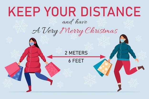 Halten sie abstand soziale distanz während der weihnachtsferien