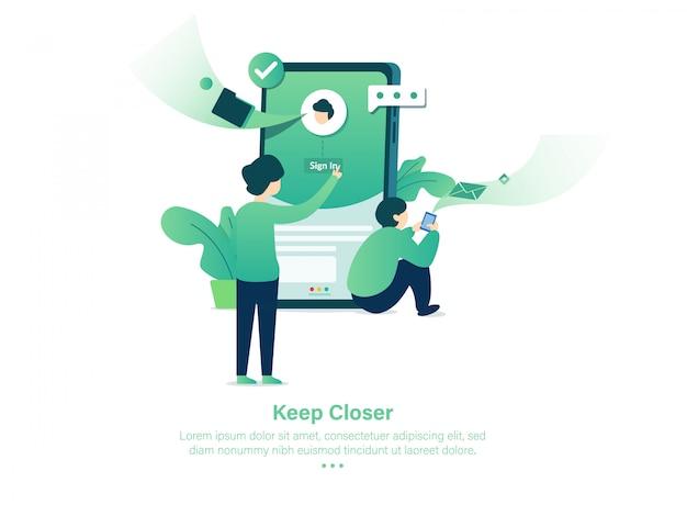 Halten sie das mobile apps-design immer näher