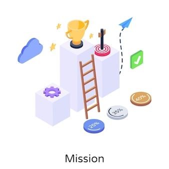 Halten sie diese isometrische darstellung der mission fest