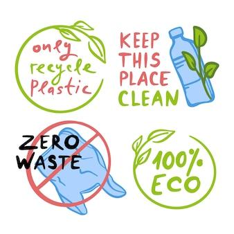 Halten sie diesen ort sauber ökologische umweltverschmutzung problem der erde mit plastikflasche und plastiktüte auf banner illustration set