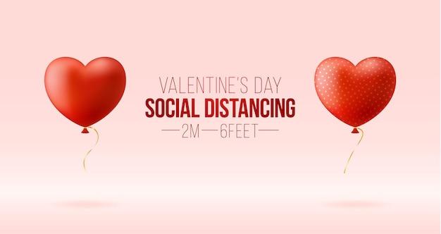 Halten sie einen sicheren abstand, während sie den valentinstag feiern.