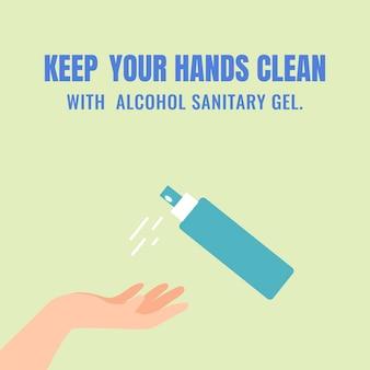 Halten sie ihre hände sauber coronavirus-schutzvorlage