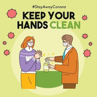 Halten sie ihre hände sauber covid-19 virus campaign illustration