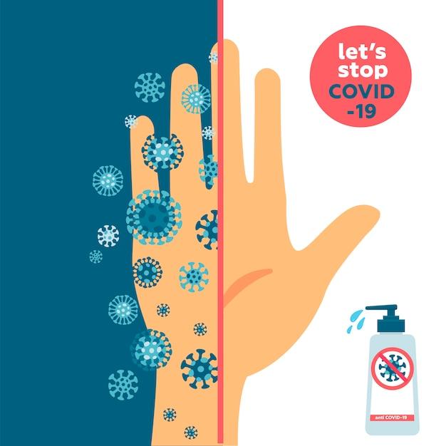 Halten sie ihre hände sauber und sauberes und schmutziges handkonzept. eine hälfte ist schmutzig hand voll mit coronavirus-keimen und eine ist sehr sauber. banner über hygiene. neuartige krankheit covid-19, 2019-ncov, mers-cov