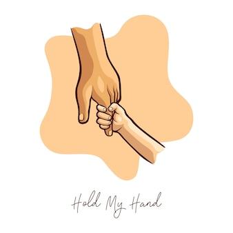 Halten sie meine hand, mutter und sohn illustration