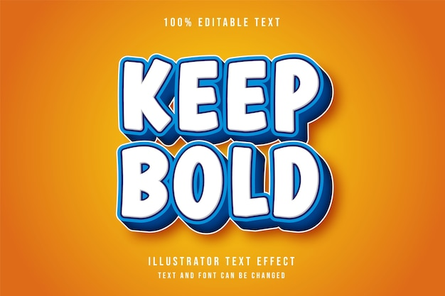 Halten sie mutigen, bearbeitbaren 3d-texteffekt im modernen blauen text-comic-stil