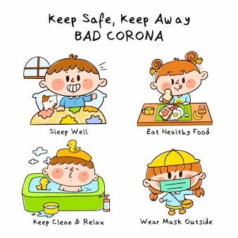 Halten sie sich fern schützen sie sich vor schlechten corona-kampagnen-doodle-illustrationen